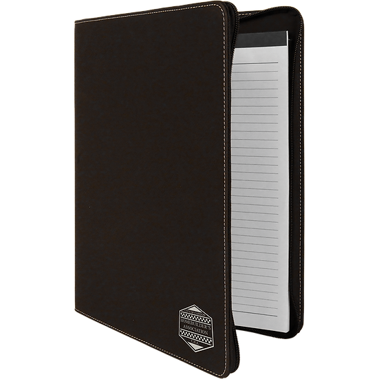 Black/Silver Leatherette Portfolio with Zipper & Notepad