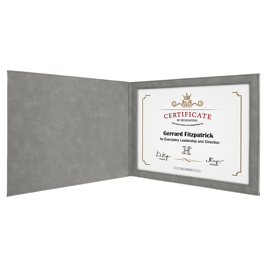 Gray Leatherette Certificate Holder