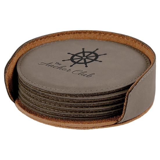 Gray Leatherette Round 6-Coaster Set