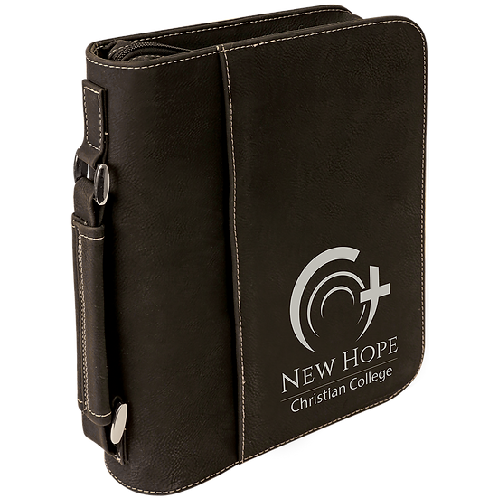 Black/Silver Leatherette Book/Bible Cover with Zipper & Handle