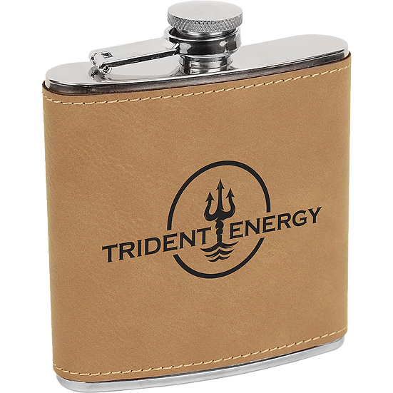 Light Brown Leatherette 6 oz. Flask