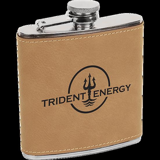 Light Brown Leatherette 6 oz. Flask