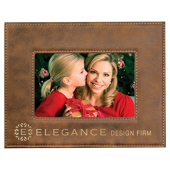 "Rustic/Gold 4"" x 6"" Leatherette Photo Frame"