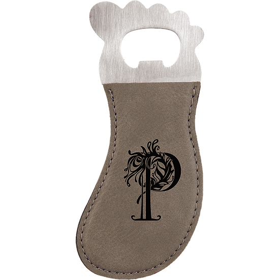 Gray Leatherette Foot Shaped Magnetic Bottle Opener