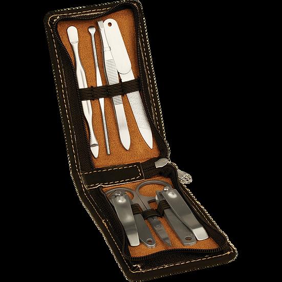 Black/Gold Leatherette Manicure Set