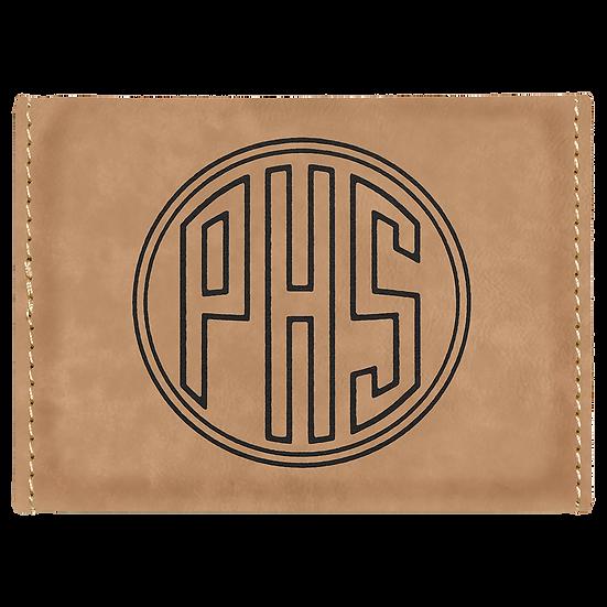 Light Brown Leatherette Hard Business Card Holder