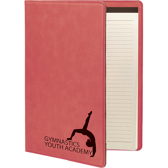 Pink Leatherette Portfolio with Notepad