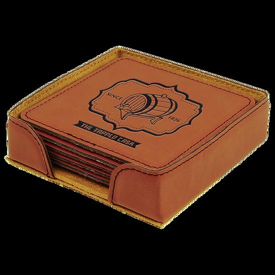 Rawhide Leatherette Square 6-Coaster Set