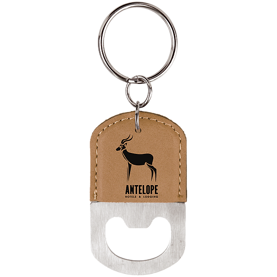 Light Brown Leatherette Oval Bottle Opener Keychain