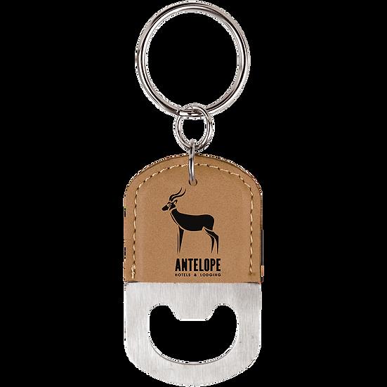Light Brown Leatherette Oval Bottle Opener Keychain