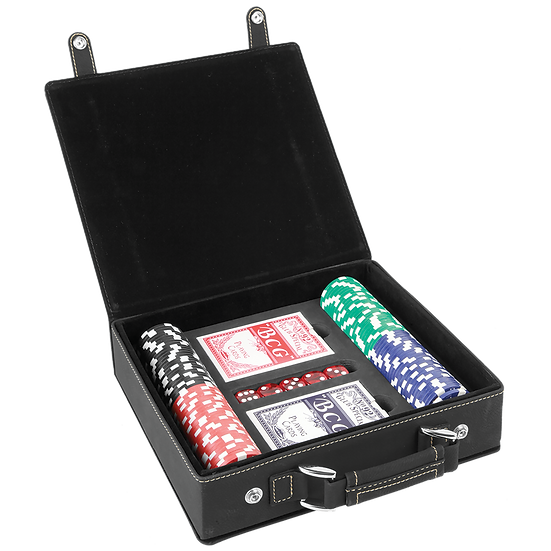 Black/Gold Leatherette Poker Set with 100 Chips, 2 Decks of Card & 5 Dice