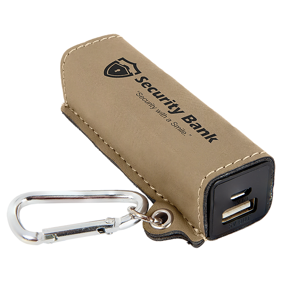 Light Brown Leatherette 2200 mAh Power Bank with USB Cord