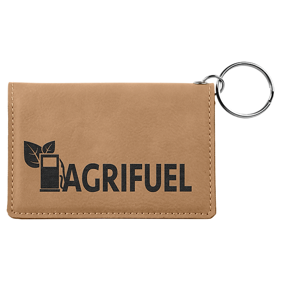 Light Brown Leatherette ID Holder with Keychain