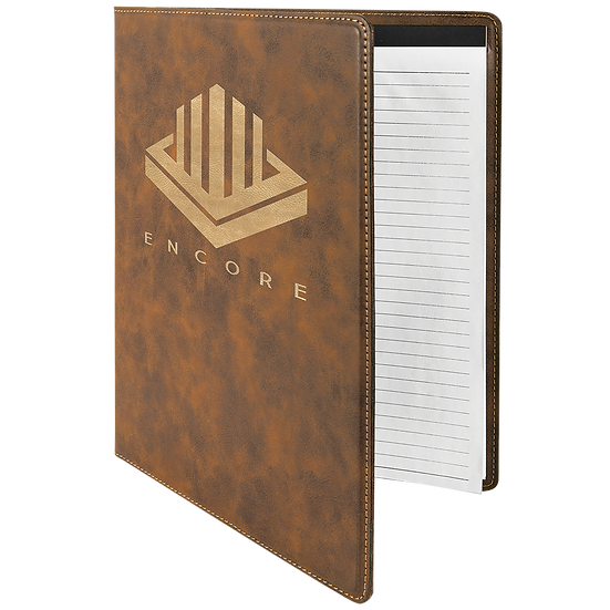 Rustic/Gold Leatherette Portfolio with Notepad