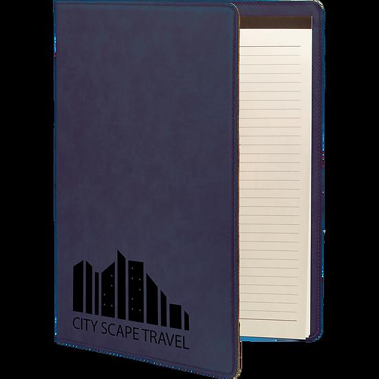 Blue/Black Leatherette Portfolio with Notepad