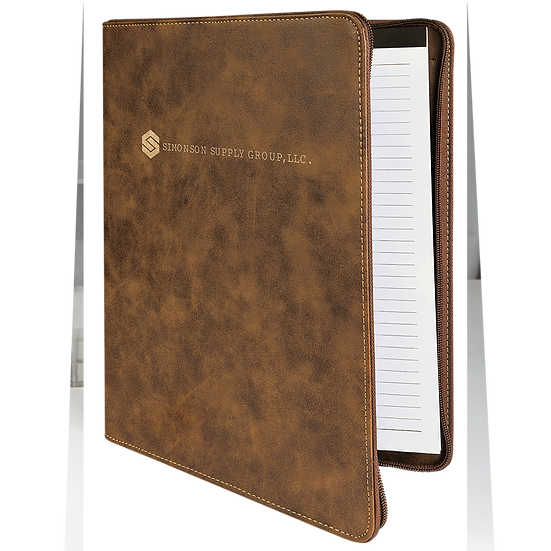 Rustic/Gold Leatherette Portfolio with Zipper & Notepad