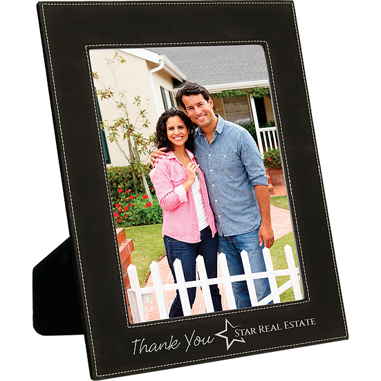"Black/Silver 8"" x 10"" Leatherette Photo Frame"