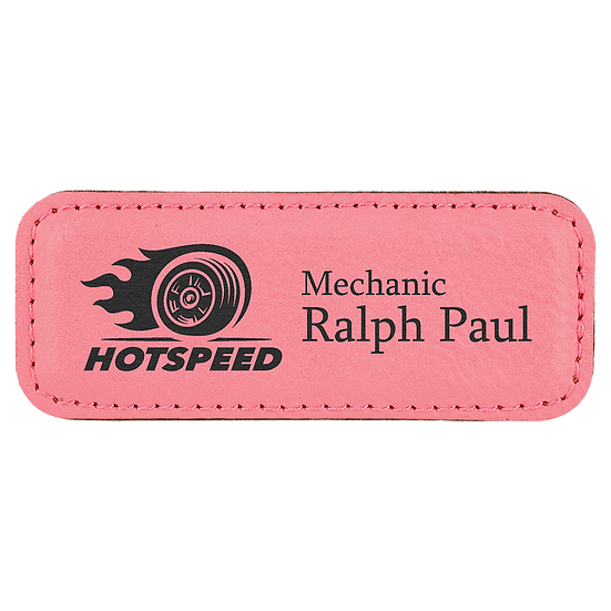 "Pink 3 1/4"" x 1 1/4"" Leatherette Badge with Magnet"