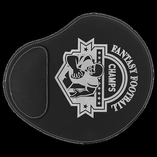 Black/Silver Leatherette Mouse Pad