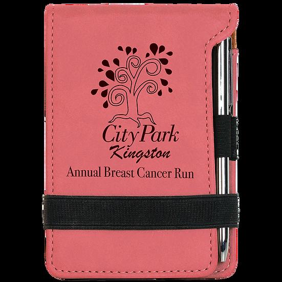 Pink Leatherette Mini Notepad & Pen Set