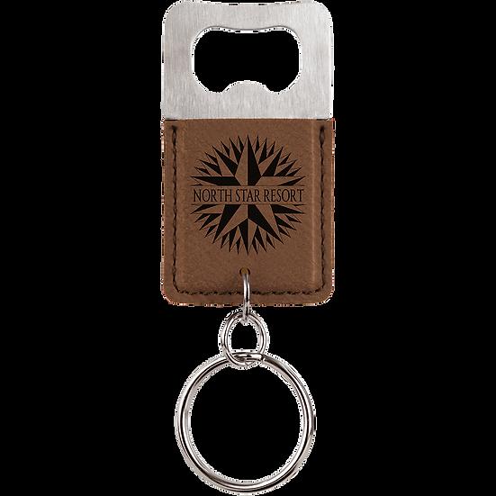 Dark Brown Leatherette Rectangle Bottle Opener Keychain