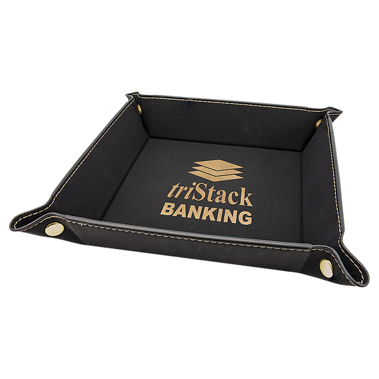 Black/Gold Leatherette Folding Tray with Snaps