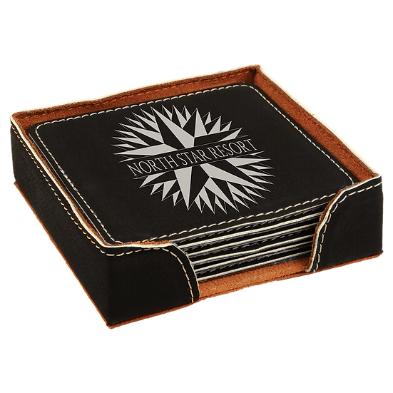 Black/Silver Leatherette Square 6-Coaster Set