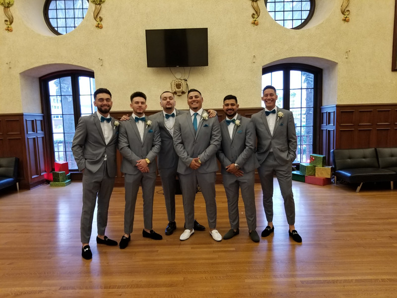 Pre-Wedding fun with the Groom and his Groomsmen in Deaver Hall at the Riverside Municipal Auditorium