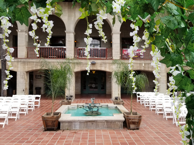 Ceremony set up for 150 on the Courtyard at the Riverside Municipal Auditorium
