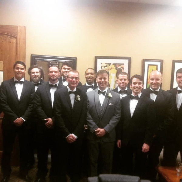 Handsome groom and his groomsmen