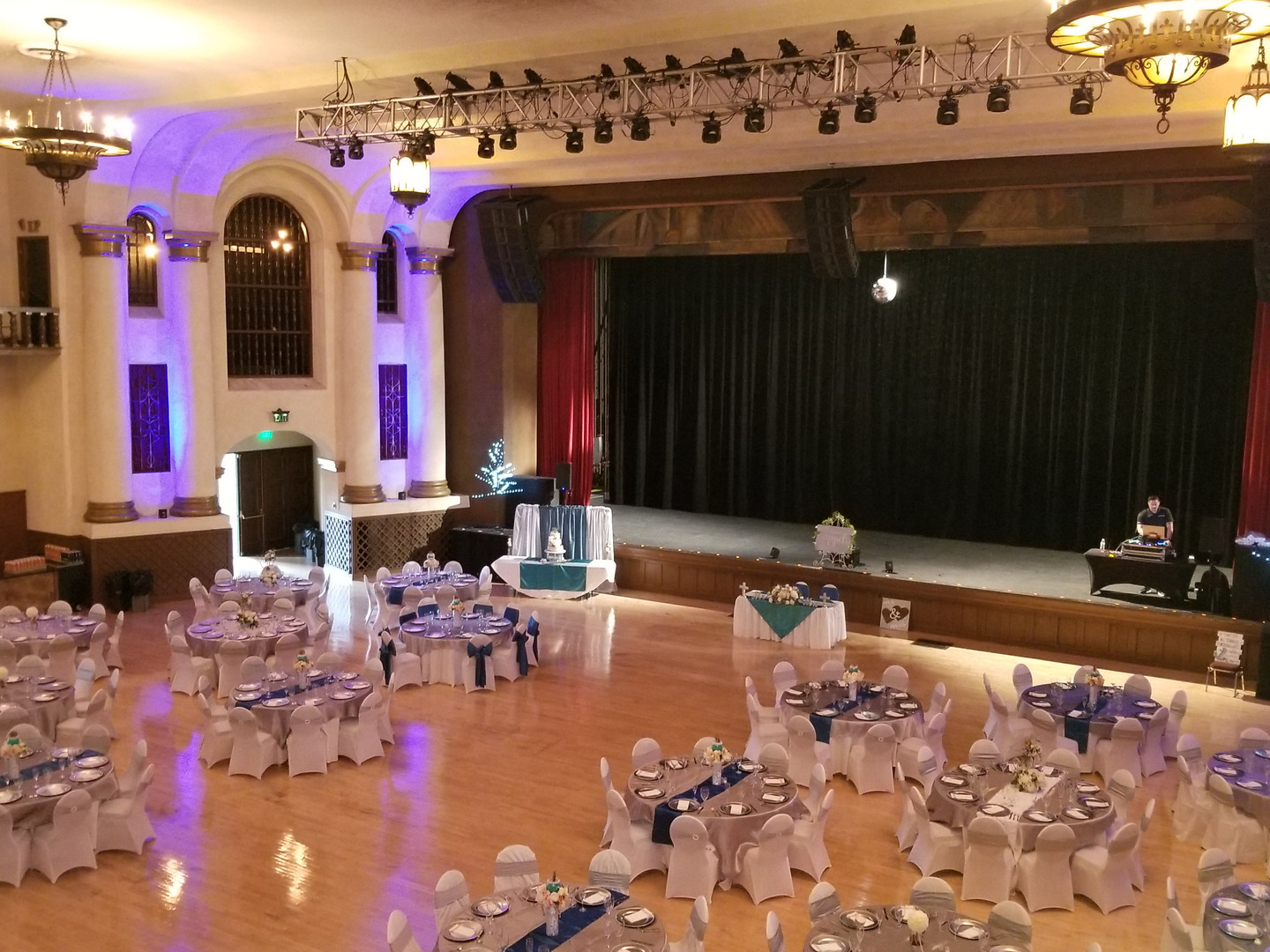 Reception set up for 150 at the Riverside Municipal Auditorium