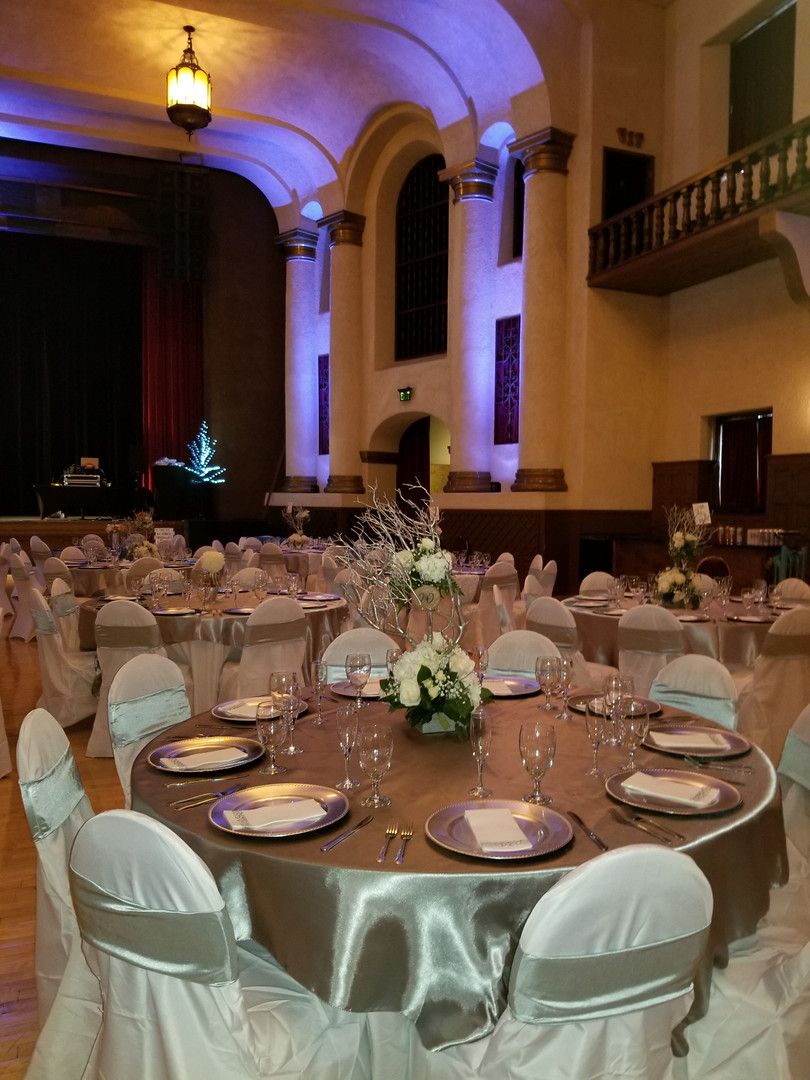 Elegant table settings at the Riverside Municipal Auditorium wedding reception