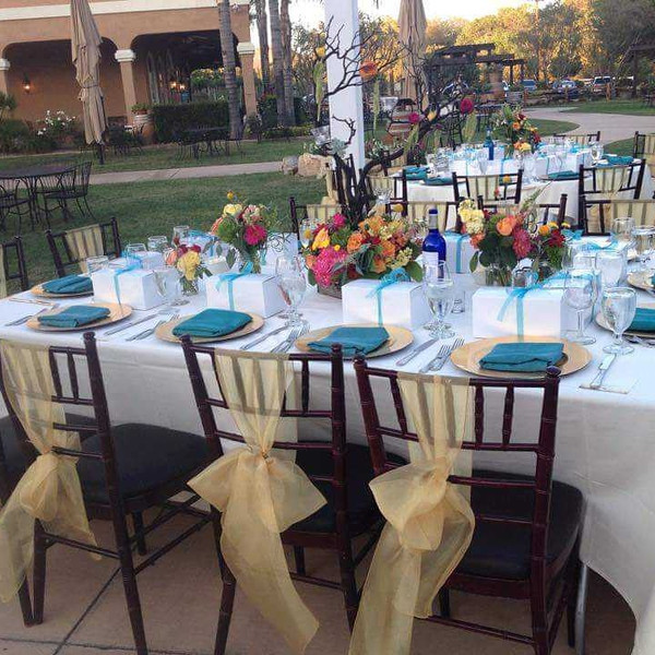 Outdoor wedding reception coordination and set up at Wilson Creek Winery