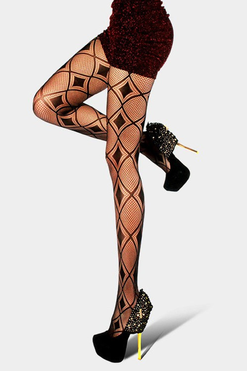 Double black diamond net pantyhose tights