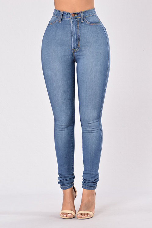 Basic High Waist Skinny Jeans M.Blue