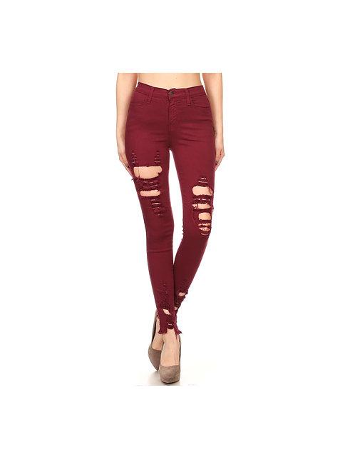Burgandy Distressed Jeans