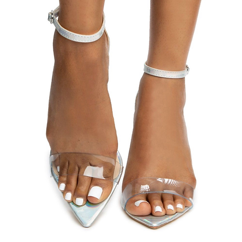 Iridescent heel sandal