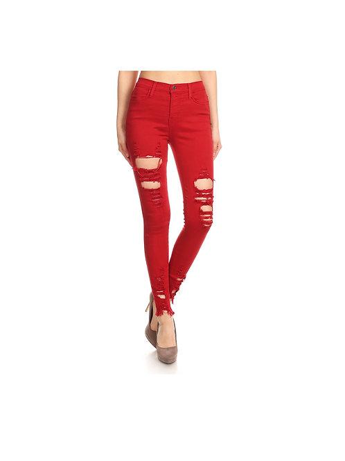 20s Street Wear Jeans Red