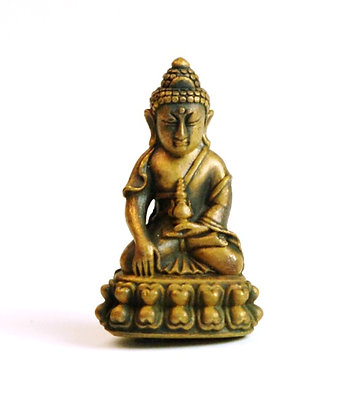 Bronze Buddha with Detailed Bronze Case