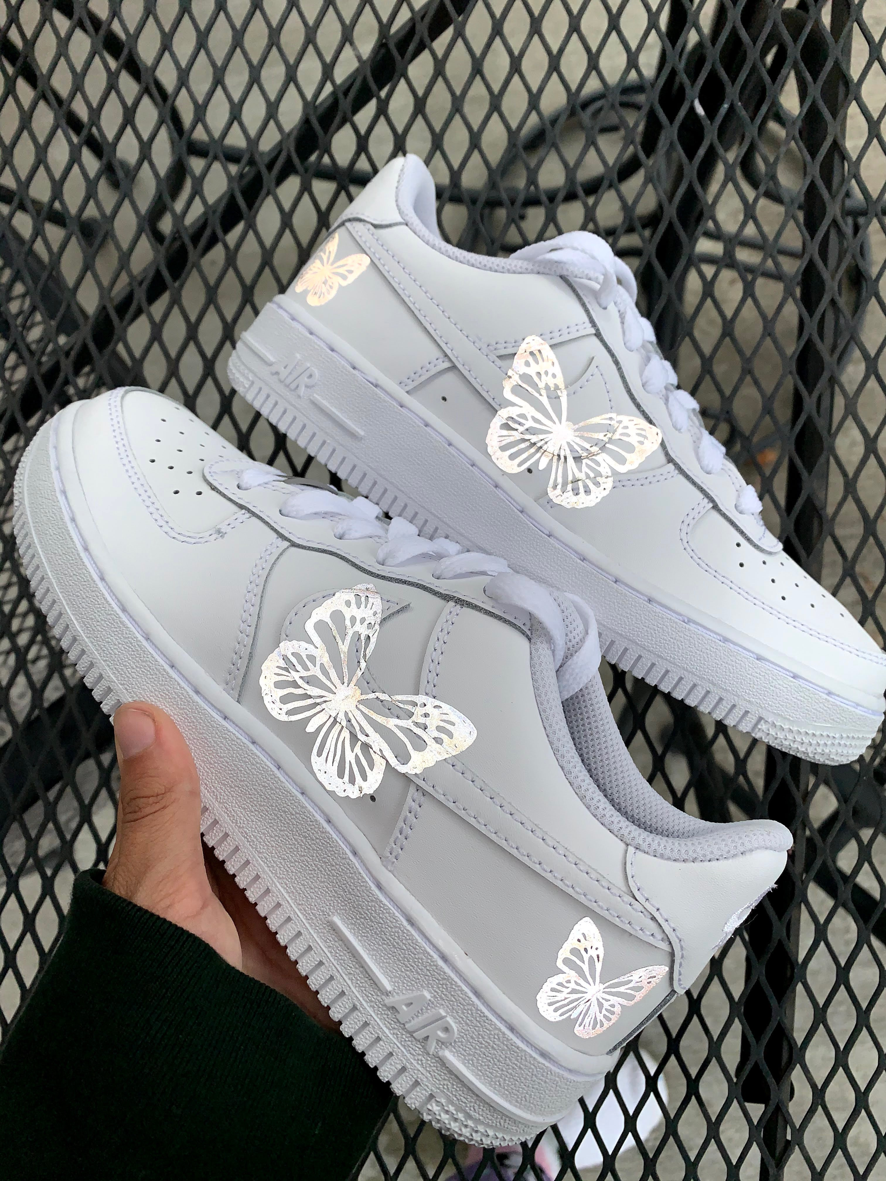 reflective butterfly air force ones