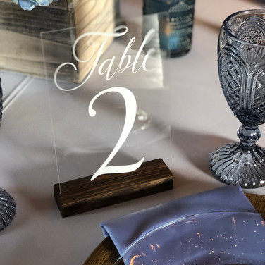 acrylic table numbers with wood stand