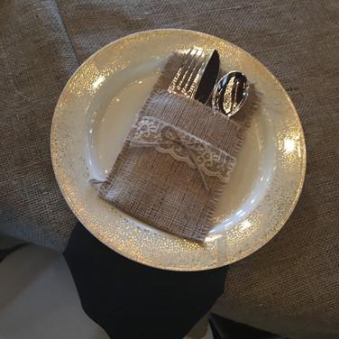 Burlap silverware holders