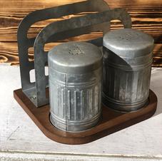 Galvanized Salt, Pepper, and Napkin Holder