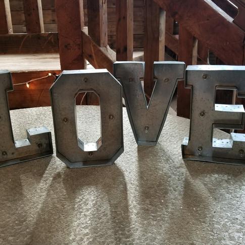 "Lit up ""LOVE"" sign"