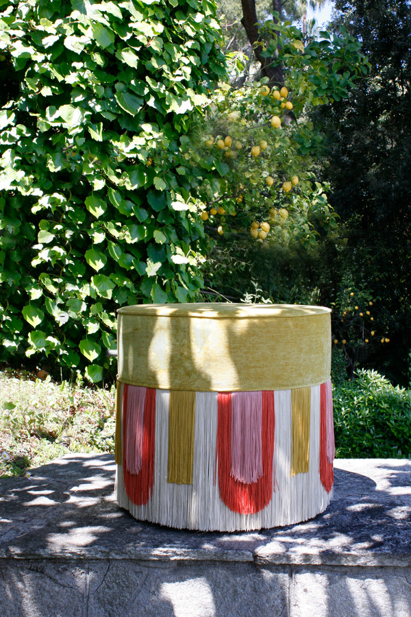 Yellow Deco' pouf diameter: 30 cm