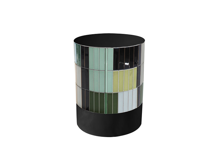 BLACK CERAMIC TILES TABLE diameter: 32 cm