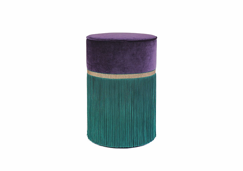 BI-COLOUR PURPLE POUF/ OTTOMAN diameter: 30 cm