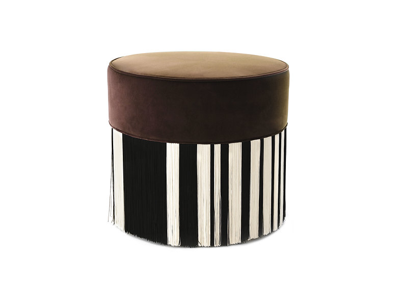 WHITE LINE BROWN POUF diameter: 50cm