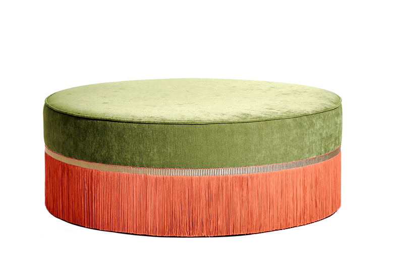 BI-COLOUR GREEN LARGE ROUND POUF diameter: 95 cm