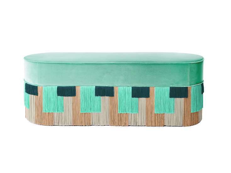 GEO STRIPE MINT LONG OVAL BENCH length: 130 cm